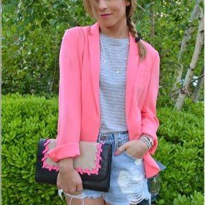 Diane Von Furstenberg lightweight blazer neon pink